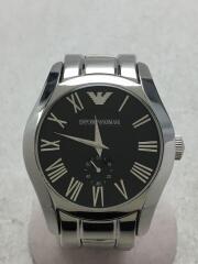 エンポリオアルマーニ/クォーツ腕時計/アナログ/ステンレス/BLK/SLV/AR-0680/コマ有