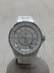 自動巻腕時計/アナログ/ホワイト/J12 GMT 38mm/裏蓋キズ有/H3103// セラミック