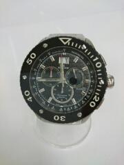 クウォーツ腕時計/アナログ/ステンレス/ブラック/シルバー/エドックス