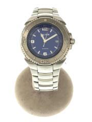 350/クォーツ腕時計/アナログ/ステンレス/ブルー/シルバー/回転ベゼル/100M防水