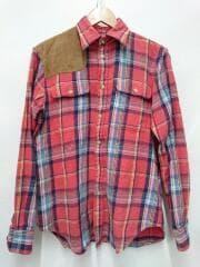 長袖シャツ/M/コットン/レッド/チェック/ポロラルフローレン/ハンティングシャツ/山羊革使用