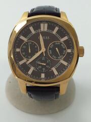 ゲス/クォーツ腕時計/アナログ/レザー/BRW/BRW/W0660G1