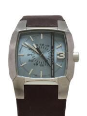 クォーツ腕時計/アナログ/レザー/BLU/BRW