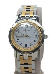 エルメス/CL4.220/クリッパー/クォーツ腕時計/アナログ/ステンレス/WHT/SLV