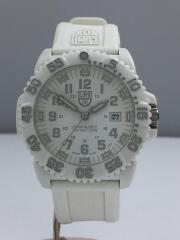 クォーツ腕時計/アナログ/ラバー/WHT/WHT