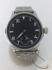 手巻腕時計/Greervo/アナログ/ステンレス/BLK/SLV/裏スケルトン