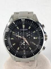 ソーラー腕時計/アナログ/ステンレス/BLK