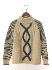 セーター(厚手)/VARIETY CABLE ZEBRA KNIT/--/ウール/IVO/0181120530