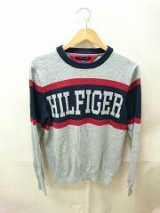 ニット/セーター(薄手)/L/コットン/GRY/NVY/RED/HILFIGERロゴ/トミーヒルフィガー