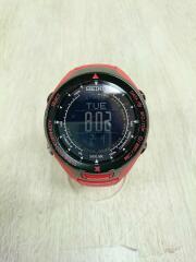 ソーラー腕時計/アナログ/ラバー/RED/キズ有/ベタツキ有/S830-00A0