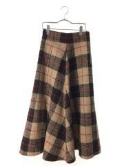 大柄チェックマキシスカート/ロングスカート/0/ポリ/BEG/チェック/09WFS184019