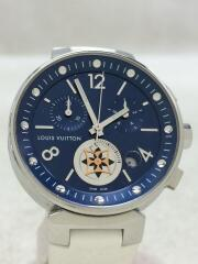 腕時計/アナログ/ラバー/NVY/WHT/タンブール/ムーンスター/箱・付属品有/QA032Z