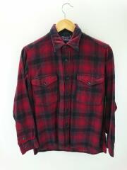 長袖シャツ/15/ウール/RED/チェック/ウールシャツ/※虫食い数か所有