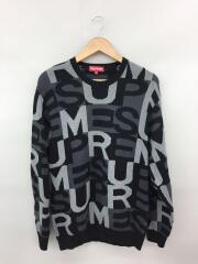Big Letters Sweater/L/コットン/グレー/クルーネック ハイゲージ ジャガードロゴ