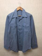 90s/ミリタリーシャンブレーシャツ/長袖シャツ/M/コットン/ブルー