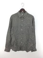 ギンガムチェックシャツ/リネンシャツ/長袖シャツ/XL/リネン/BLK/チェック/