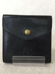 フラップボタン折り財布/2つ折り財布/レザー/BLK/無地