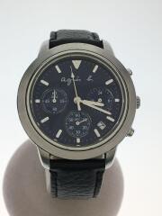 クォーツ腕時計/アナログ/フェイクレザー/BLK/クロノグラフ/VD53-KJ00