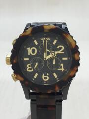 クォーツ腕時計/アナログ/BLK/BRW