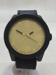 クォーツ腕時計/アナログ/レザー/GLD