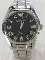 クォーツ腕時計/アナログ/ステンレス/BLK/SLV/ar-0680