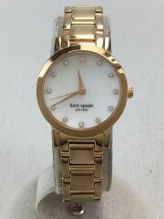クォーツ腕時計/アナログ/ステンレス/ホワイト/ゴールド