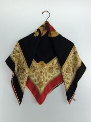 スカーフ/シルク/RED/総柄/シルクスカーフ/ひっかき傷有/王冠/鳥
