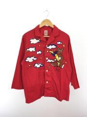 長袖シャツ/S/コットン/RED/Meslits Mellow/パジャマシャツ/スリーピングシャツ