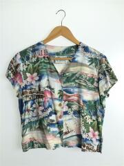 アロハシャツ/S/レーヨン/BLU/総柄/ノーカラー