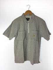 半袖シャツ/M/コットン/BLU/ストライプ/ハーフジップ