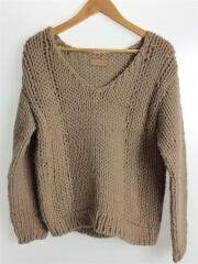 セーター(厚手)/FREE/ウール/BEG/17AW/Vneck Hand Knit/11720533