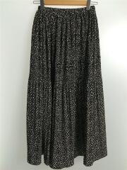 ロングスカート/FREE/ポリエステル/BLK/レオパード/レオパード柄ロングプリーツスカート