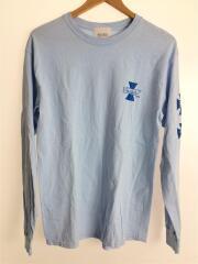 長袖Tシャツ/M/コットン/BLU/4D7S CREW NECK T-SHIRT L/S/スリーブプリント