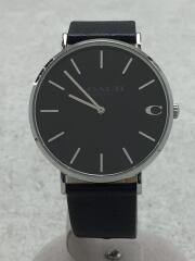 クォーツ腕時計/アナログ/レザー/SLV/BLK/CHARLES