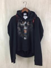 Misplaced-shoulder skull-print sweatshirt/パーカー/XS/コットン/BLK/プルオーバー スカルプリント