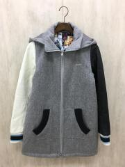 スリーブレザー切替フーディーコート/コート/2/ウール/GRY