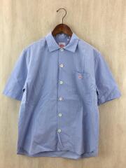 コットンポプリンワイドシャツ/半袖シャツ/40/コットン/BLU/無地