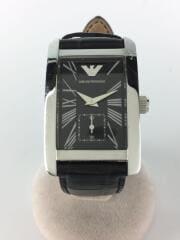 クォーツ腕時計/アナログ/ステンレス/ブラック/BLK/SLV/AR-0673