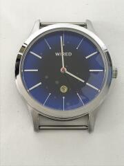 クォーツ腕時計/アナログ/レザー/BLU/NVY