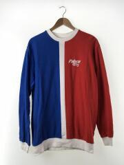 長袖Tシャツ/L/コットン/WHT/ストライプ/スケートボードクルーネック/赤青/
