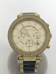 クォーツ腕時計/アナログ/ステンレス/GLD/NVY/MK-6238