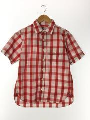 半袖シャツ/S/コットン/RED/チェック/タグ付/WORK DHIRTS/レッド/赤/H041304