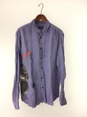 ディーゼルブラックゴールド/長袖シャツ/XL/リネン/ブルー/青/メンズ/プリント/刺繍/