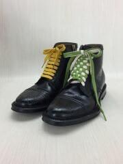 ブーツ/UK7/黒/ブラック/サイドジップ/メダリオン/レースアップ/革靴/ウイングチップ/