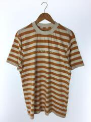 Tシャツ/M/コットン/ORN/ボーダー/オレンジ/ホワイト/クルーネック/カットソー/セットインスリーブ