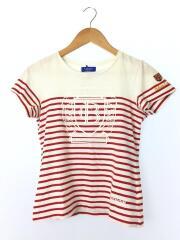 Tシャツ/38/コットン/RED/ボーダー/カットソー/ホワイト×レッド/プリント/
