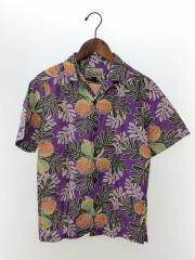半袖シャツ/XL/コットン/PUP/62495/アロハシャツ/総柄/オープンカラーシャツ/パープル