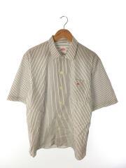 半袖シャツ/42/コットン/WHT/ストライプ/20SS/ストライプ半そでシャツ/ロゴ入り/