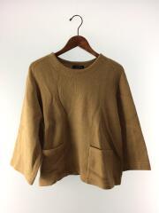 セーター(厚手)/--/ウール/BRW/無地/ニット/茶色/キャメル/トップス/クルーネック/ポケット