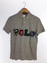 ポロシャツ/S/コットン/GRY/スリムフィット/ワッペンロゴ/3D/立体ロゴ/ラルフ/半袖/メンズ
